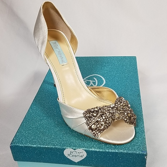 02f4b3899 Betsey Johnson Ivory Satin Rhinestone Gown Sandal